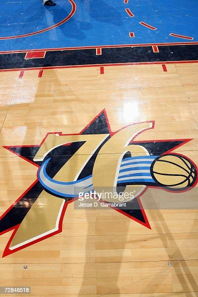 Detail of the Sixers logo prior to the NBA game between the Minnesota Timberwolves and the Philadelphia 76ers on December 3 2006 at the Wachovia...