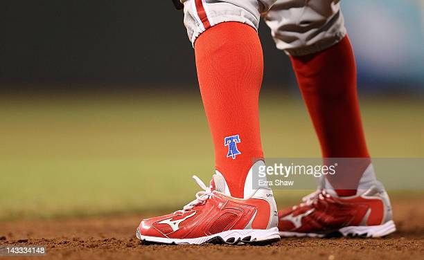 A detail of the socks worn by Juan Pierre of the Philadelphia Phillies during their game against the San Francisco Giants at ATT Park on April 17...