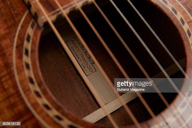 Detail of the sound hole on an Anderwood Authentic Series 1927 Style 4 acoustic lapsteel guitar taken on November 11 2015