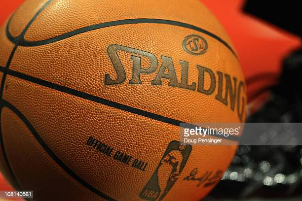 A detail of the Spalding Official Game Ball of ther NBA as the Chicago Bulls host the Miami Heat at the United Center on January 15 2011 in Chicago...