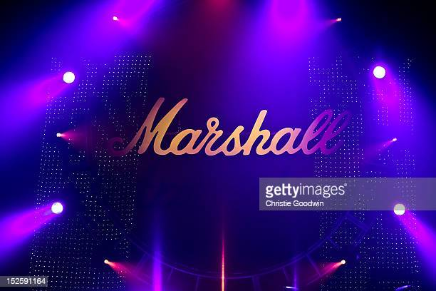 Detail of the stage during the Marshall 50 Years Of Loud concert celebrating Marshall Amp's 50th Anniversary at Wembley Arena on September 22 2012 in...