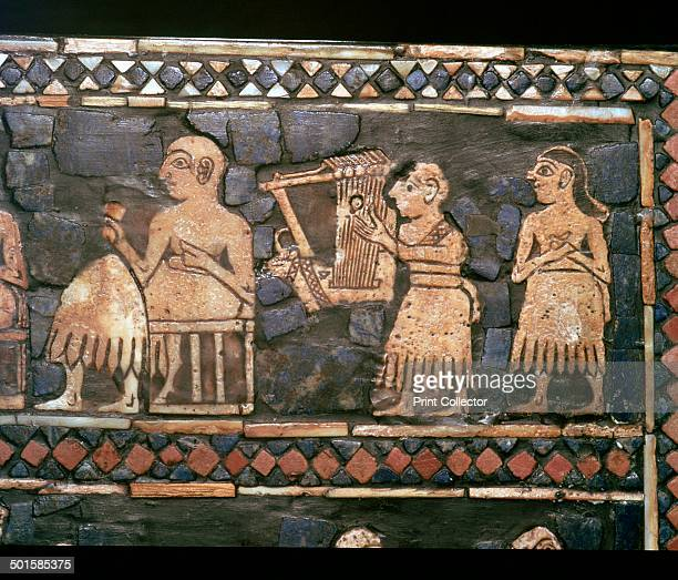 Detail of the standard of Ur showing a Sumerian Harpist and a Ruler from a Royal tomb at Ur southern Iraq about 26002400 BC Inlay of shell red...