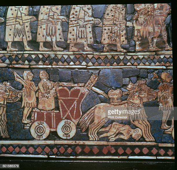 Detail of the Standard of Ur showing a Sumerian WarChariot from a Royal tomb at Ur southern Iraq about 26002400 BC The main panels are known as 'War'...
