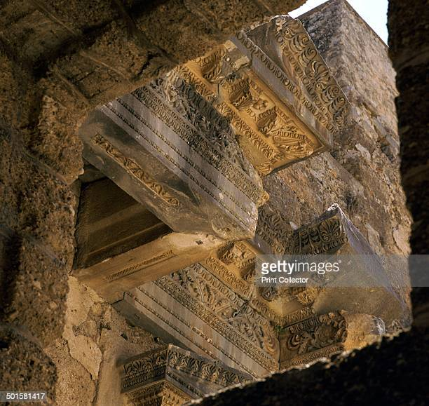 Detail of the stonework on the facade of the stage of the theatre in Aspendos Turkey 2nd century