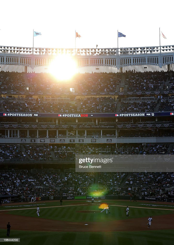 A detail of the sun shinning through the facade atop the stadium as the New York Yankees host the Detroit Tigers during Game Two of the American League Championship Series at Yankee Stadium on October 14, 2012 in the Bronx borough of New York City.