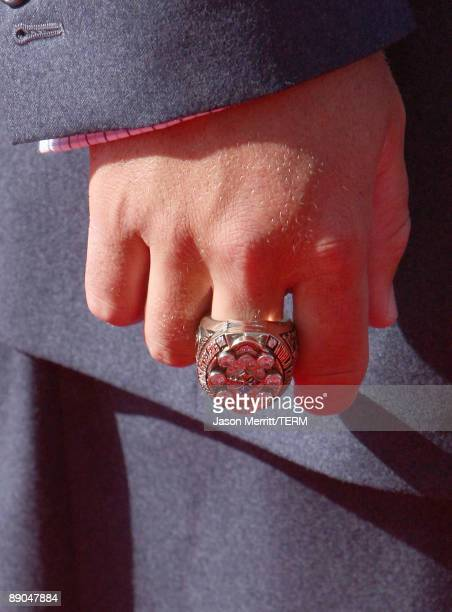 A detail of the Super Bowl ring worn by NFL player Ben Roethlisberger arrives at the 2009 ESPY Awards held at Nokia Theatre LA Live on July 15 2009...