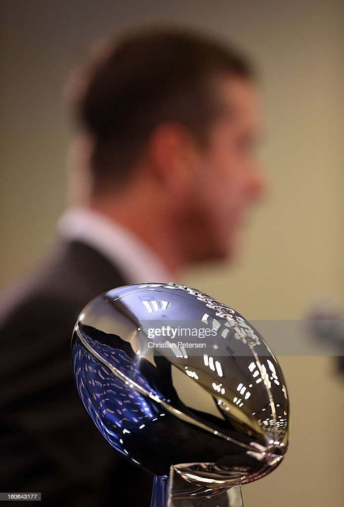 Detail of the Super Bowl trophy as head coach <a gi-track='captionPersonalityLinkClicked' href=/galleries/search?phrase=John+Harbaugh&family=editorial&specificpeople=763525 ng-click='$event.stopPropagation()'>John Harbaugh</a> of the Baltimore Ravens speaks during the Super Bowl XLVII Team Winning Coach and MVP Press Conference at the Ernest N. Morial Convention Center on February 4, 2013 in New Orleans, Louisiana.