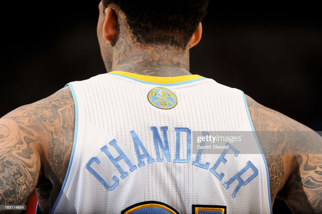 A detail of the tattoos of Wilson Chandler #21 of the Denver Nuggets during a game against the Atlanta Hawks on March 4, 2013 at the Pepsi Center in Denver, Colorado.