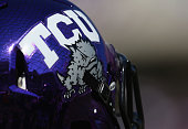 A detail of the TCU Horned Frogs helmet at Amon G Carter Stadium on October 25 2014 in Fort Worth Texas