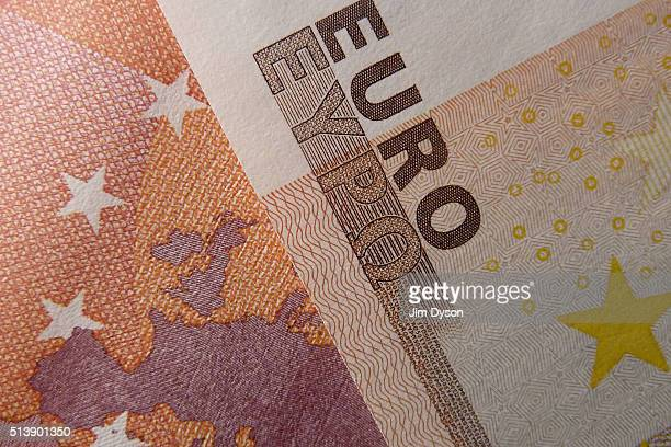 A detail of the ten and fifty Euro bank notes on March 4 2016 in London England