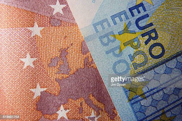 A detail of the ten and twenty Euro bank notes on March 4 2016 in London England