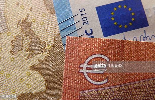A detail of the ten twenty and fifty Euro bank notes on March 4 2016 in London England