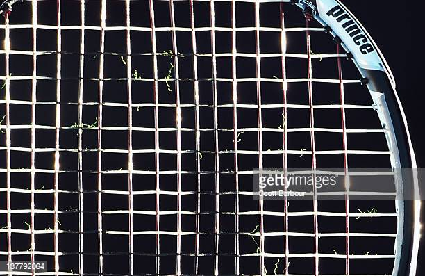 A detail of the tennis racquet of Vera Zvonareva of Russia as she plays in her doubles final match with Svetlana Kuznetsova against Roberta Vinci and...