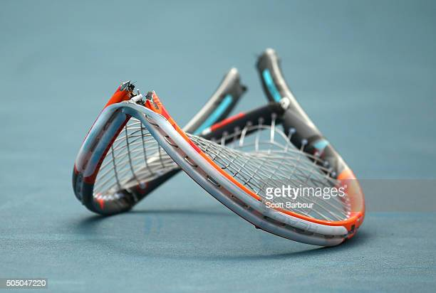 A detail of the tennis racquet smashed by Marinko Matosevic of Australia as he left the court after losing his match against Alejandro Gonzalez of...