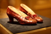 Detail of the 'The Wizard of Oz' Ruby Red Slippers on view at the Plaza Athenee on December 5 2011 in New York City
