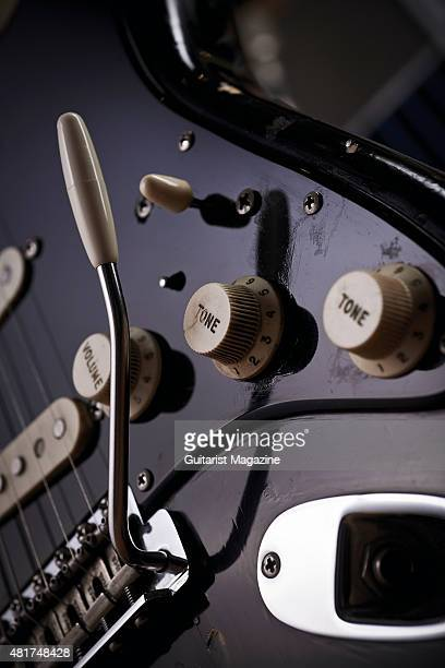 Detail of the tone knobs on a vintage 1969 Fender Stratocaster belonging to Pink Floyd guitarist David Gilmour known as The Black Strat taken on...