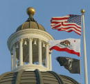 A detail of the top of the dome of the California Capitol building in Sacramento California 22 October 2003 AFP PHOTO / Robyn BECK