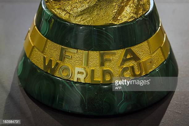 Detail of the trophy of the FIFA World Cup 2014 brought to Brazil by former Brazilian football player Cafu from the FIFA headqueaters in Switzerland...