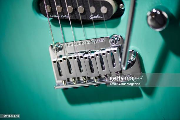 Detail of the TruLoc Tremolo system on a Godin Session Custom '59 electric guitar taken on April 27 2016