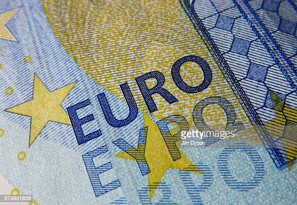 A detail of the twenty Euro bank note on March 4 2016 in London England