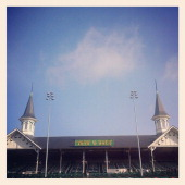 A detail of the twin spires during the 138th running of the Kentucky Derby on May 5 2012 at Churchill Downs in Louisville Kentucky