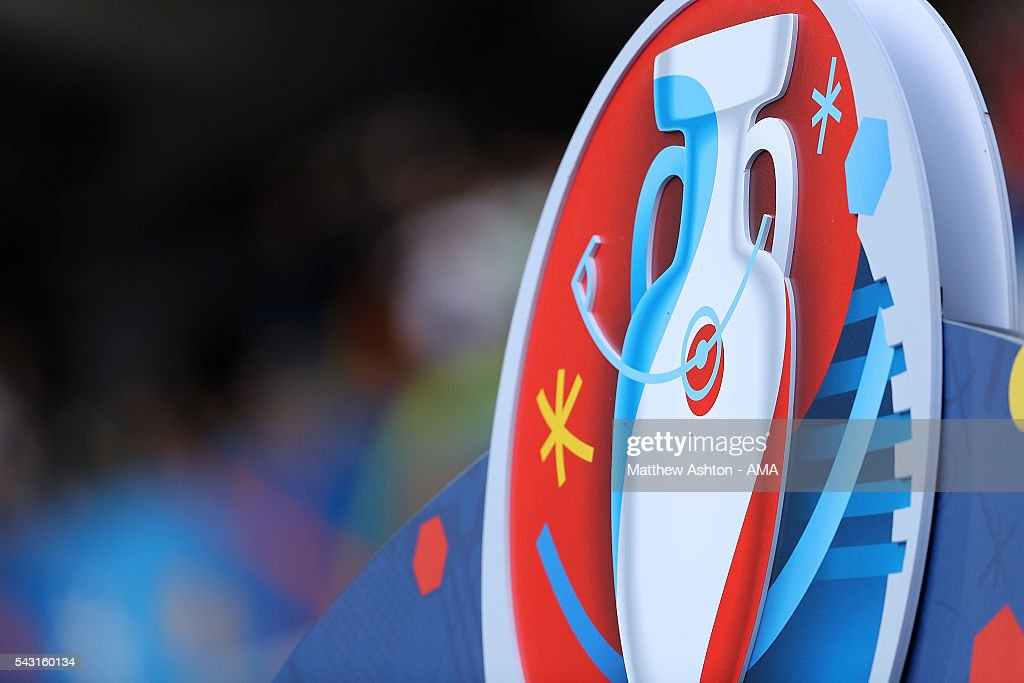 Detail of the UEFA Euro 2016 logo during the UEFA Euro 2016 Round of 16 match between Germany and Slovakia at Stade Pierre-Mauroy on June 26, 2016 in Lille, France.