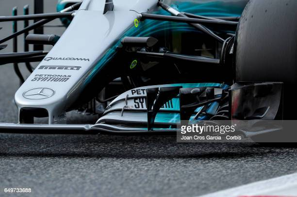 A detail of the Valtteri Bottas driven Mercedes AMG car during the Formula One preseason tests on May 8 2017 in Barcelona Spain