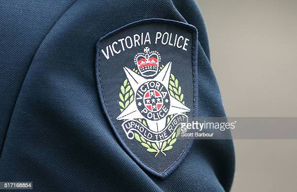 A detail of the Victoria police badge on a police officer during a memorial service to honour Constable Angela Taylor on March 24 2016 in Melbourne...