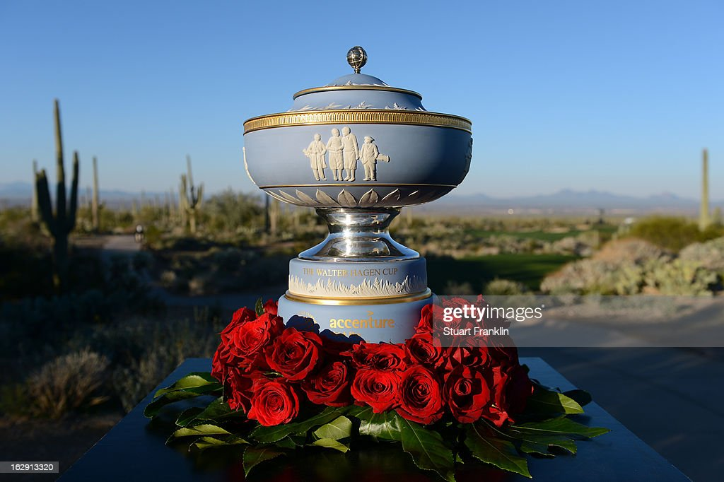 A detail of the Walter Hagen cup seen on display during the third round of the World Golf Championships - Accenture Match Play at the Golf Club at Dove Mountain on February 23, 2013 in Marana, Arizona. The trophy is presented to the overall winner.