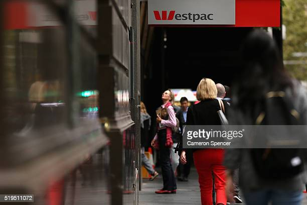 Detail of the Westpac bank on April 7 2016 in Sydney Australia Prime Minister Malcolm Turnbull on Wednesday reprimanded the banking industry for its...