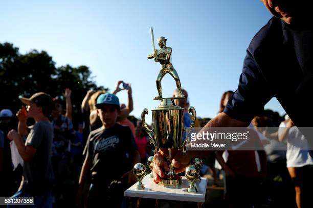 A detail of the winners trophy before it was presented to the Brewster Whitecaps after they defeat the Bourne Braves during game three of the Cape...