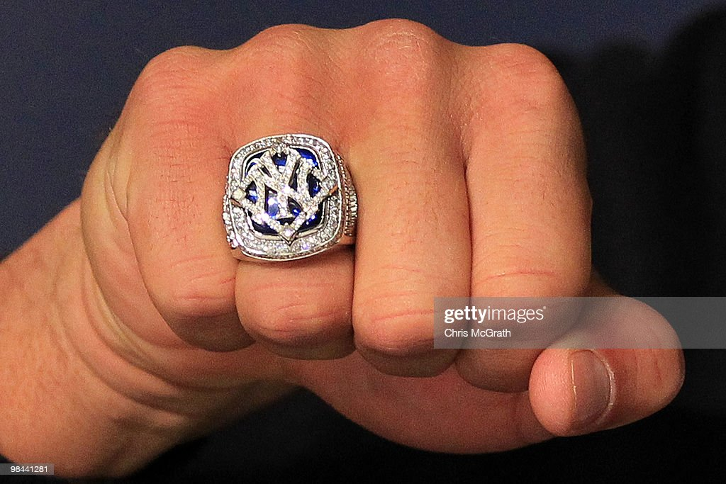 A detail of the World Series ring worn by Alex Rodriguez #13 of the New York Yankees is seen during a press conference after the Yankees home opener at Yankee Stadium on April 13, 2010 in the Bronx borough of New York City.