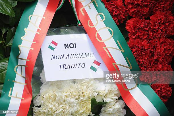 A detail of the writing 'we have not betrayed' at commemoration ceremony for the death of Italian dictator Benito Mussolini and his mistress Claretta...