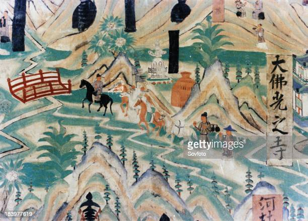 Detail of the Wutai Mountain Map a mural painting done during the Five Dynasties in the Dunhuang Grottoes depicting pilgrims travelling along a road