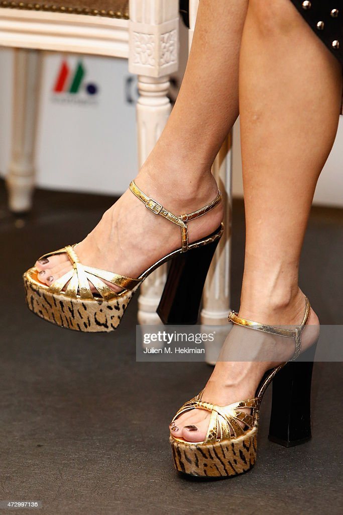 A detail of the Xu Jinglei shoes pictured during the 5th Chinese Film Festival press conference on May 11 2015 in Paris France