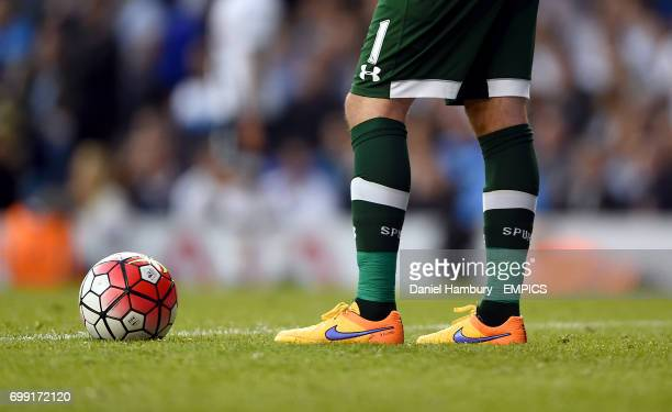 Detail of Tottenham Hotspur goalkeeper's Hugo Lloris' socks and shoes