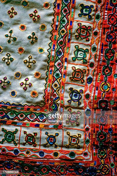 Detail of traditional embroidery from Kutch Gujarat India