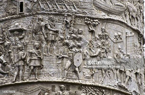 Detail of Trajan's Column showing triumph of the emperor after the first campaign against the Dacians