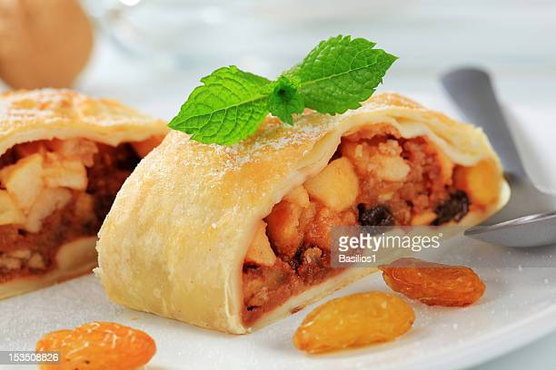 Detail of two pieces apple strudel