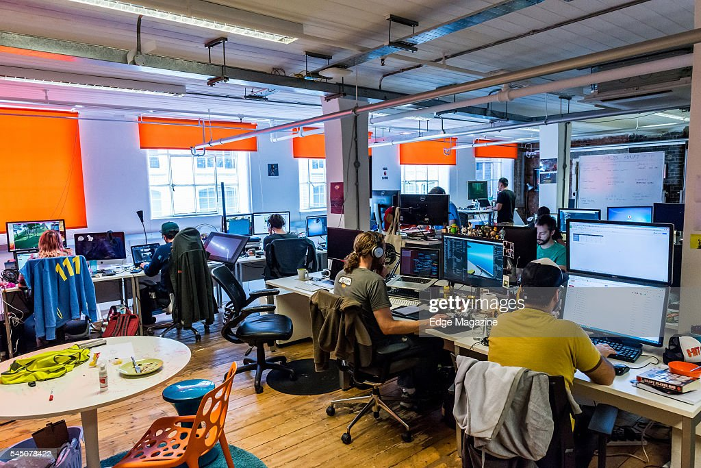 developer office. detail of video game developer bossa studios office in london on september 29 2015