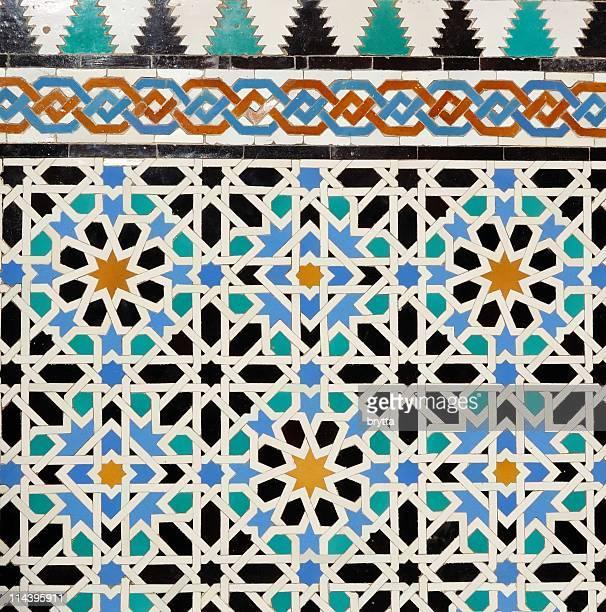 Detail of wall mosaics in  Reales Alcazares of Sevilla,Spain