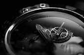 close up of wristwatch in monochrome