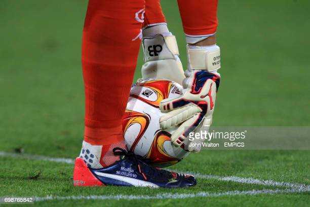 Detail of Wolfsburg goalkeeper Diego Benaglio picking up the ball