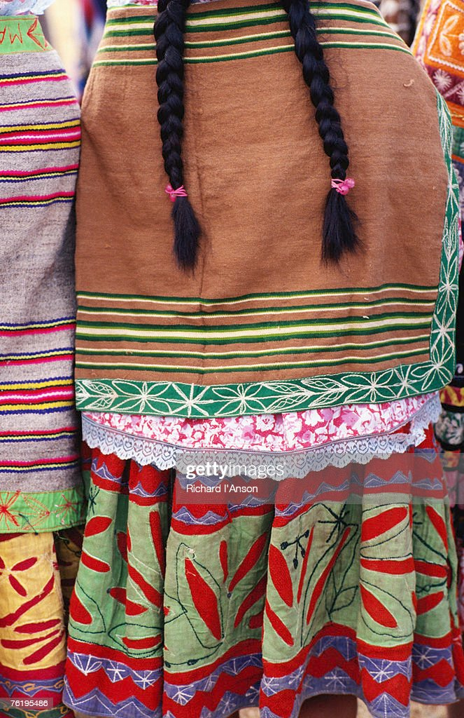 Detail of woman's clothing and hair, Peru, South America : Stock Photo