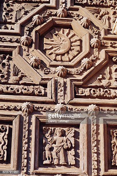 Detail of Wooden Door with Crescent Moon and Saint John the Evangelist from Sculpture Program on Cathedral de Zacatecas