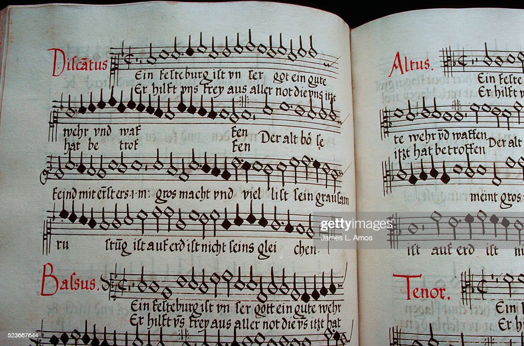 Detail of Words and Music in 1540s Hymnal