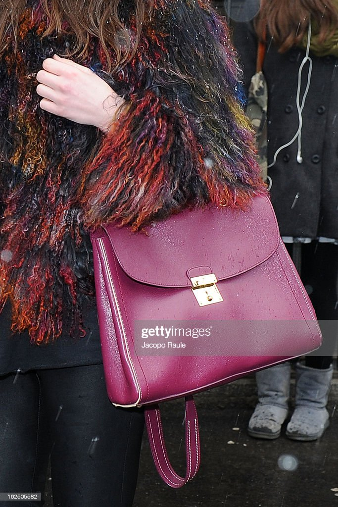 A detail of Zina is seen as she attends the Emporio Armani fashion show as part of Milan Fashion Week Womenswear Fall/Winter 2013/14 on February 24, 2014 in Milan, Italy.