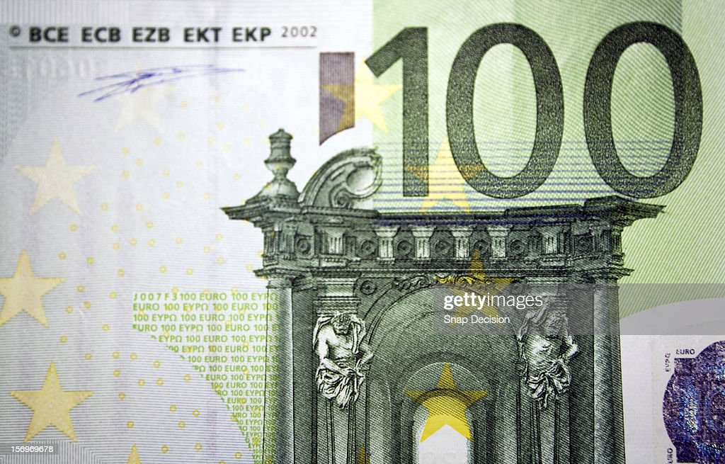 Detail on a one hundred euro bank note