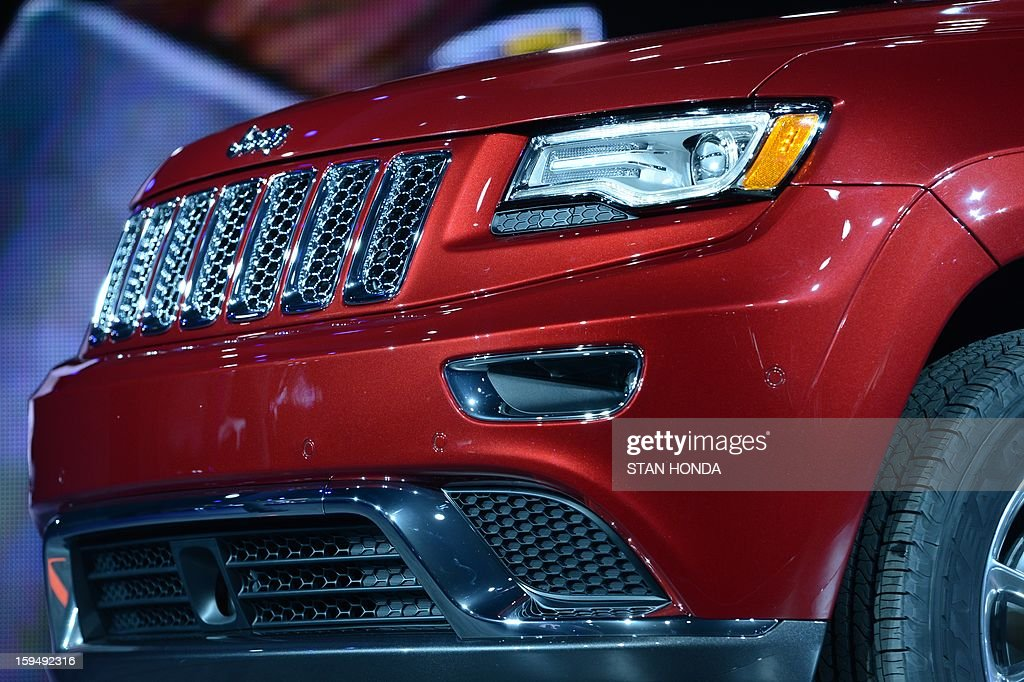 Detail on the 2014 Jeep Grand Cherokee as it is introduced at the 2013 North American International Auto Show in Detroit, Michigan, January 14, 2013. AFP PHOTO/Stan HONDA