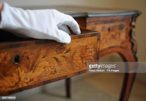 A detail on the drawer of the Edward Holmes Baldock desk estimated at 50007000 once owned by Lord Lucan on display at Bonhams where it will go up for...